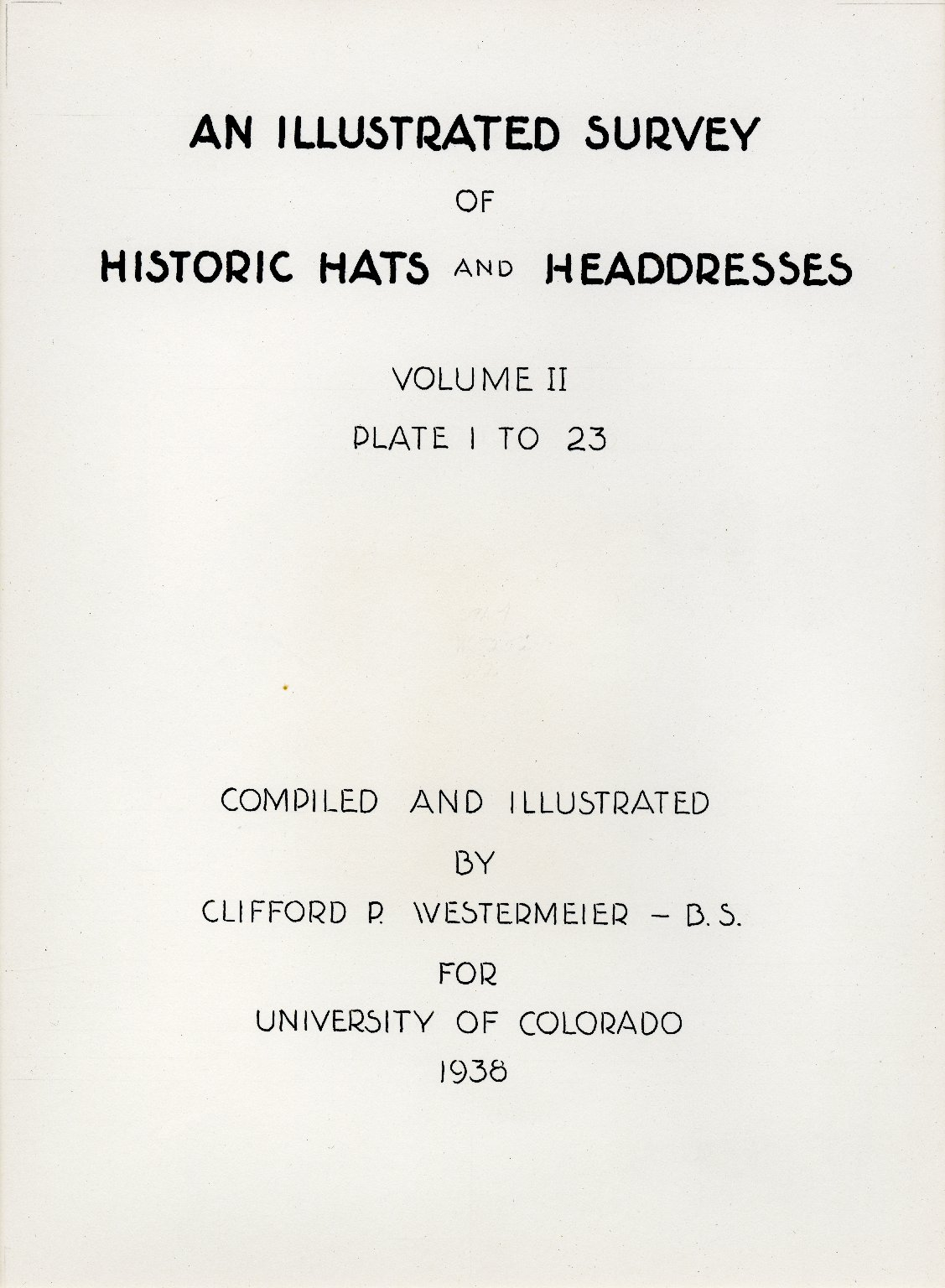 Table of Contents: Volume II Plate 1 to 23