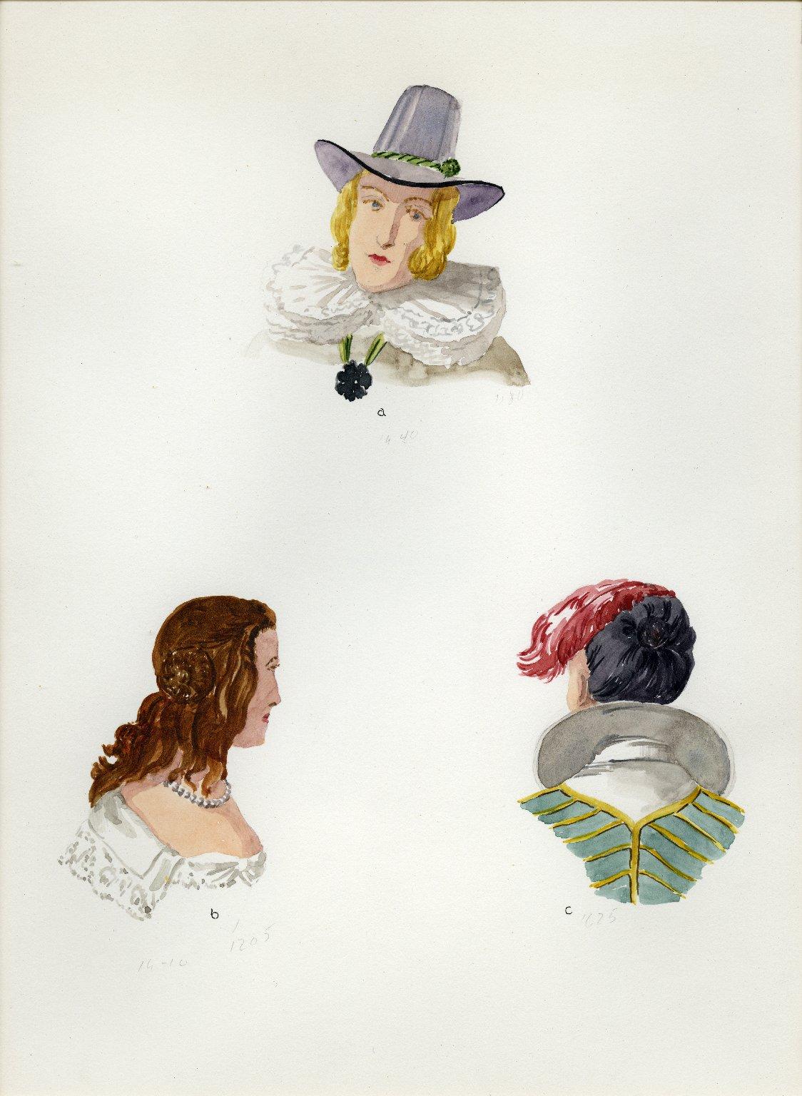 Plate VI: 17th Century English hat, coiffures
