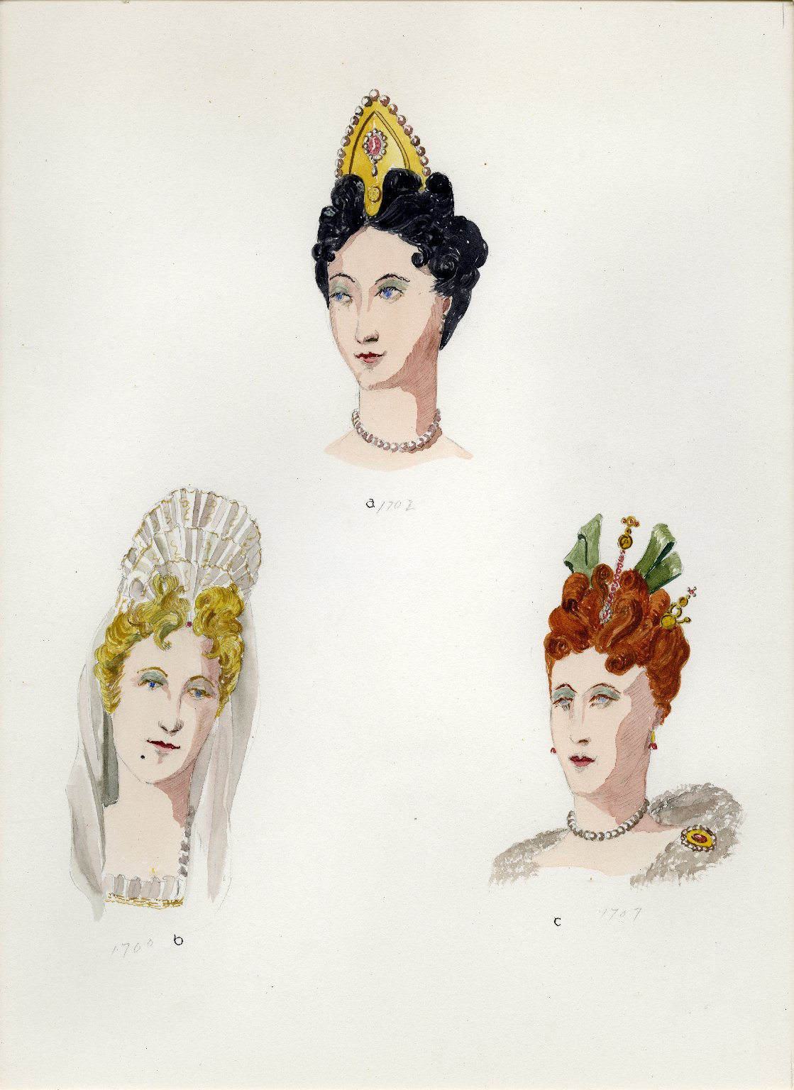 Plate IX: 18th Century French coiffure, headdress, coiffure