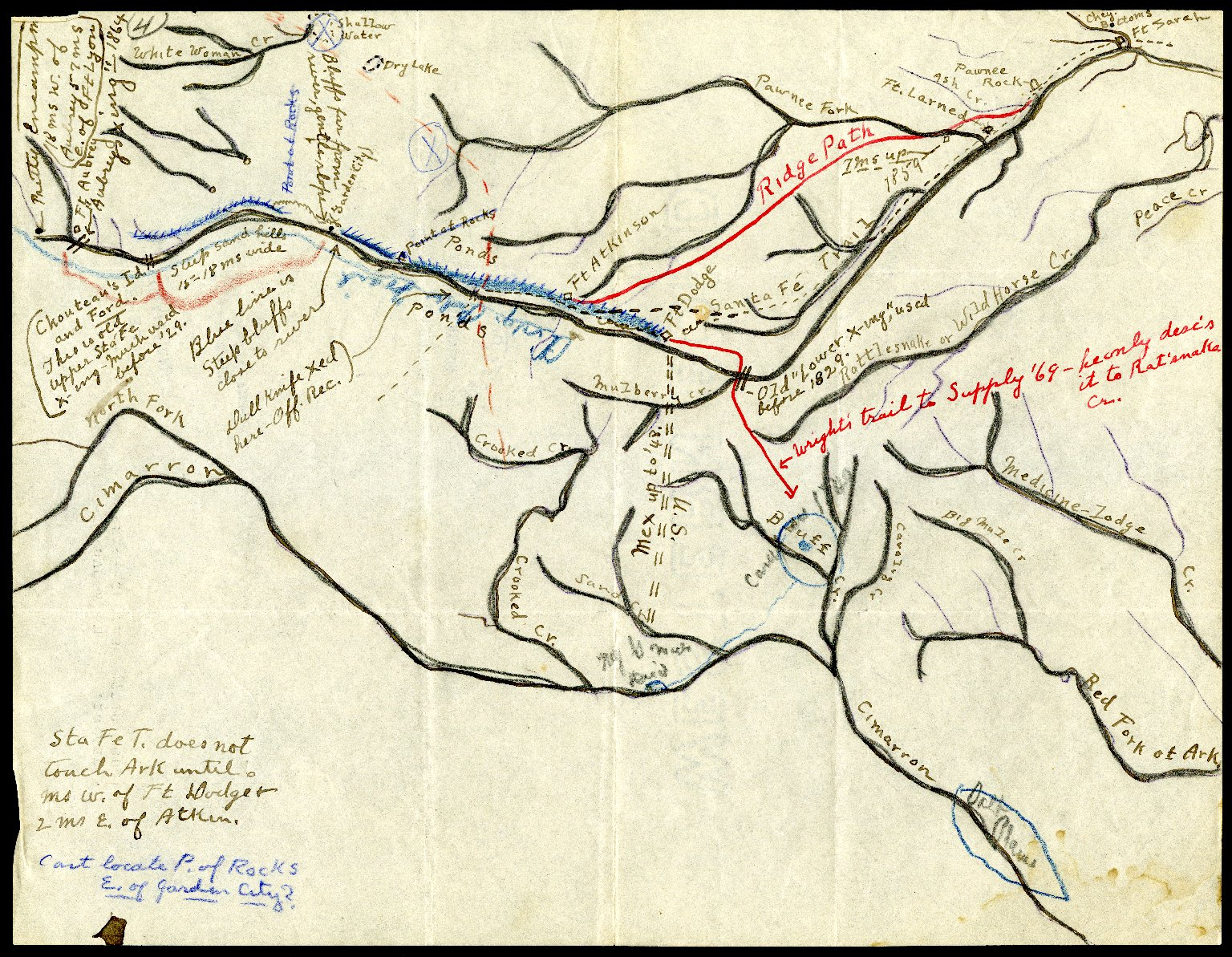 Lodge Pole Trail; Camp of the Cheyenne and Arapahoe at the time of their battle with the Kiowa and Comanche, 1838; Trail of Dull Knife