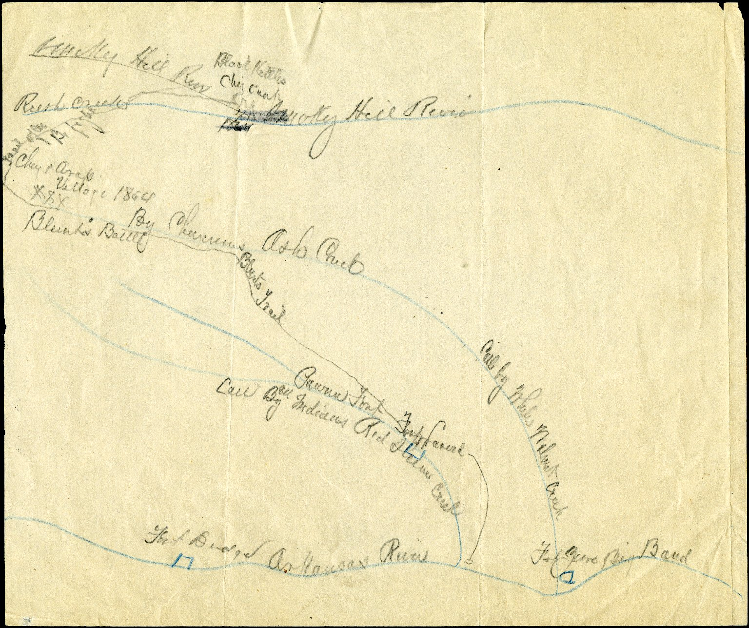 Movement of the Indians at the time of the fight with General James G. Blunt's forces in the summer of 1864