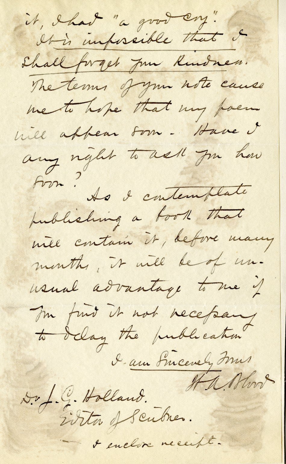 Blood, Henry Ames. ALS, 2 pages plus 4 page holograph poem, signed, March 15, 1875.