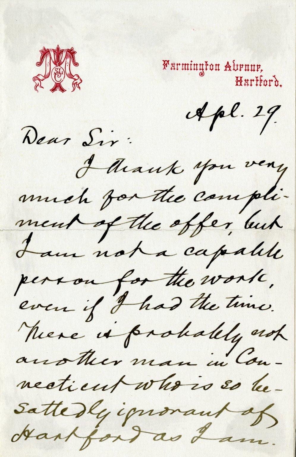 Clemens, Samuel Langhorne ALS, 2 pages, April 29, [1875].