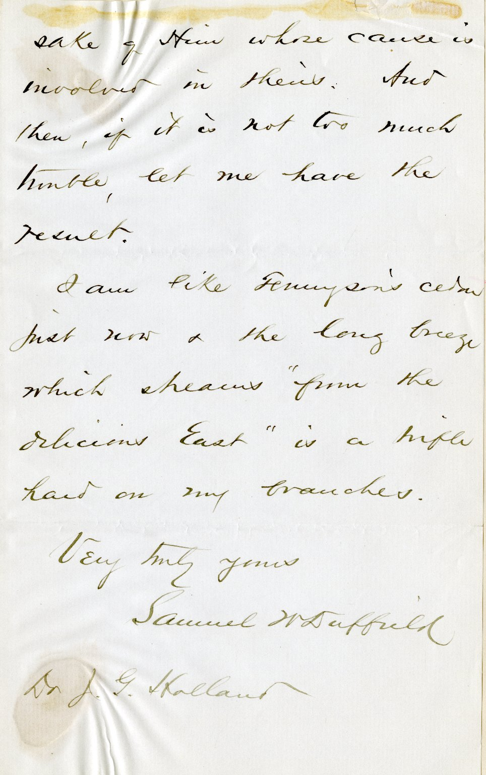 Duffield, Samuel W. ALS, 5 pages, October 16, 1872.