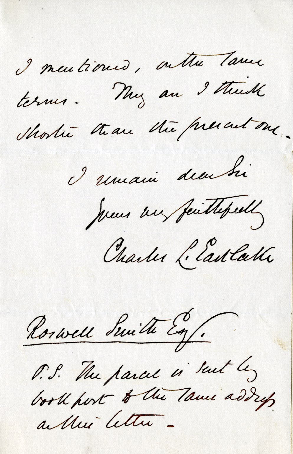 Eastlake, Charles to Roswell Smith, ALS, 3 pages, February 2, 1878.