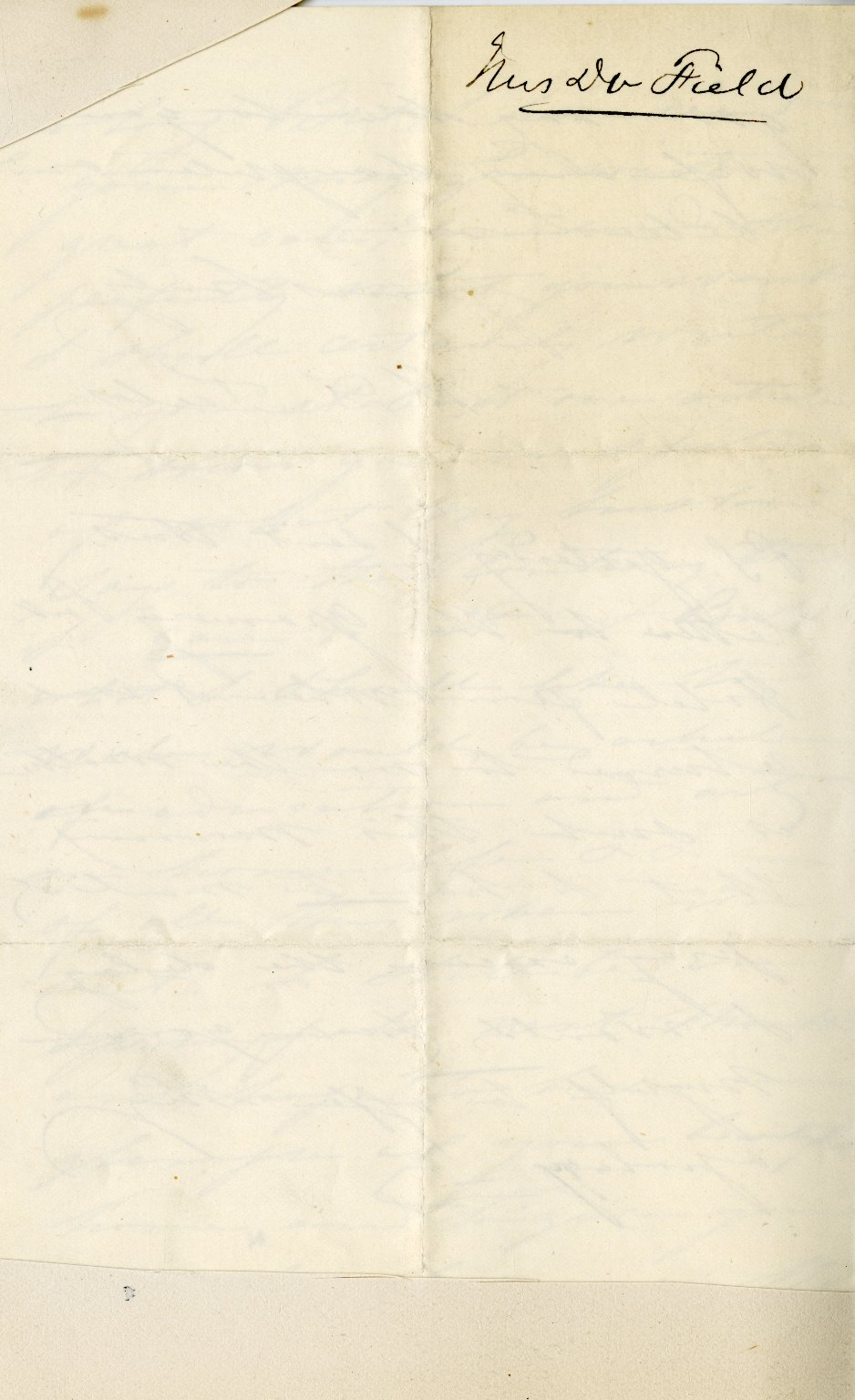 Field, Mrs. Henry M. ALS, 3 pages, no date.