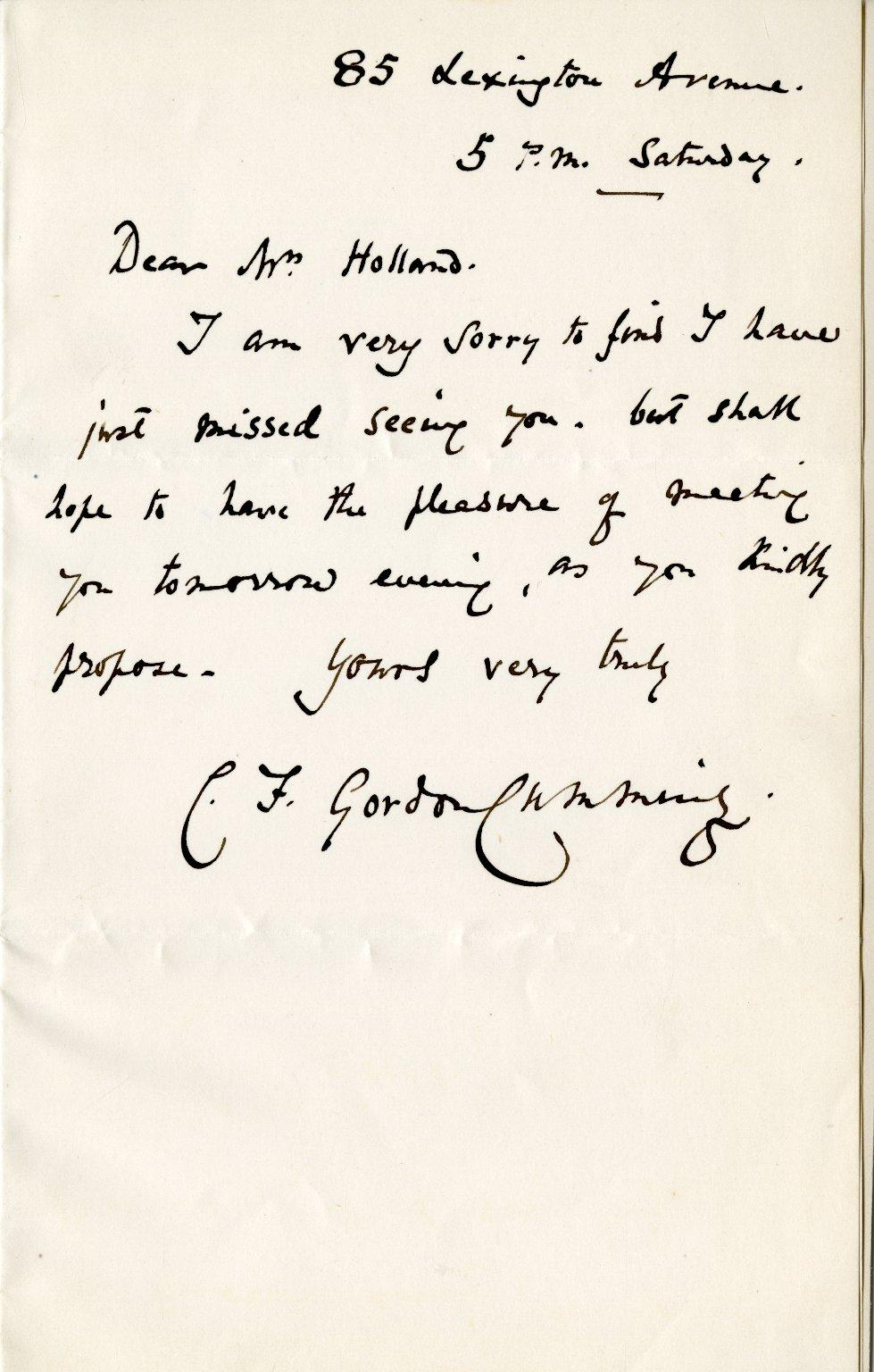 Gordon-Cumming, C. ALS, 1 page, no date.