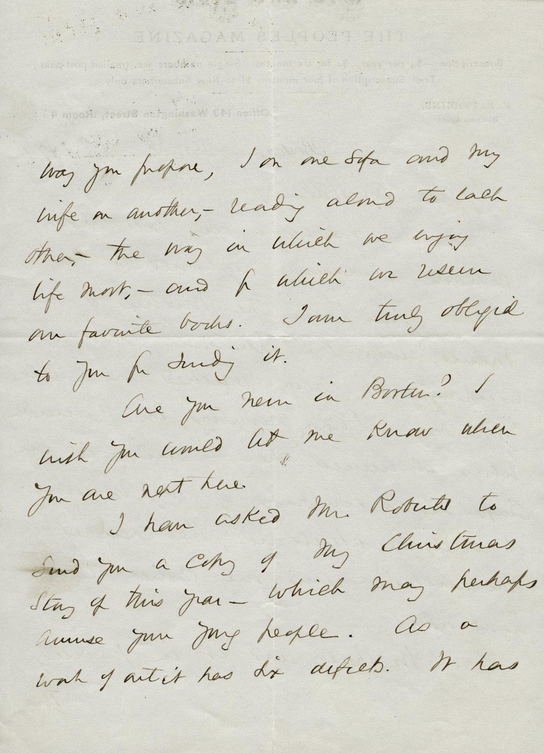 Hale, Edward Everett. ALS, 3 pages, December 3, 1874.