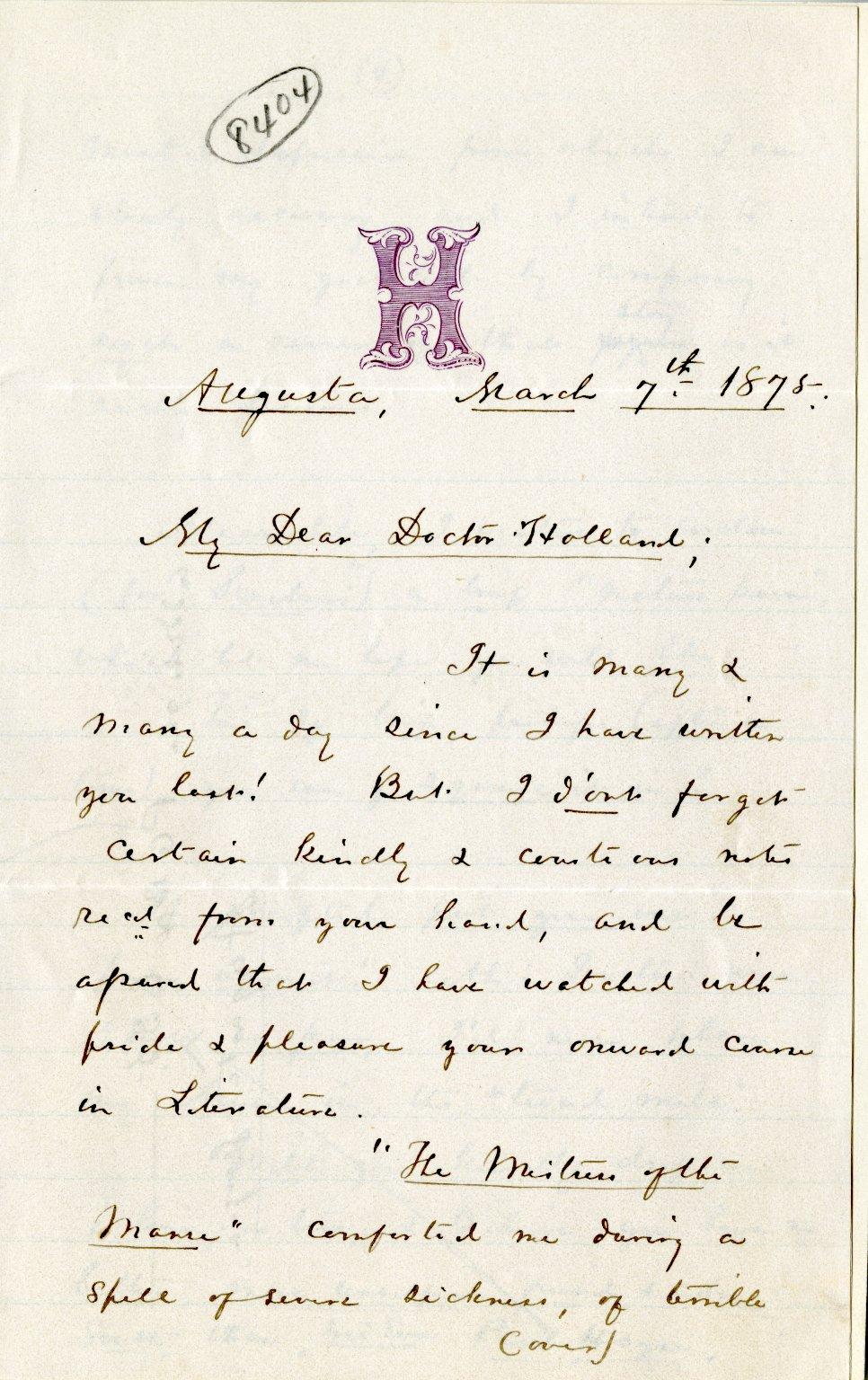 Hayne, Paul. ALS, 2 pages, March 7, 1875.