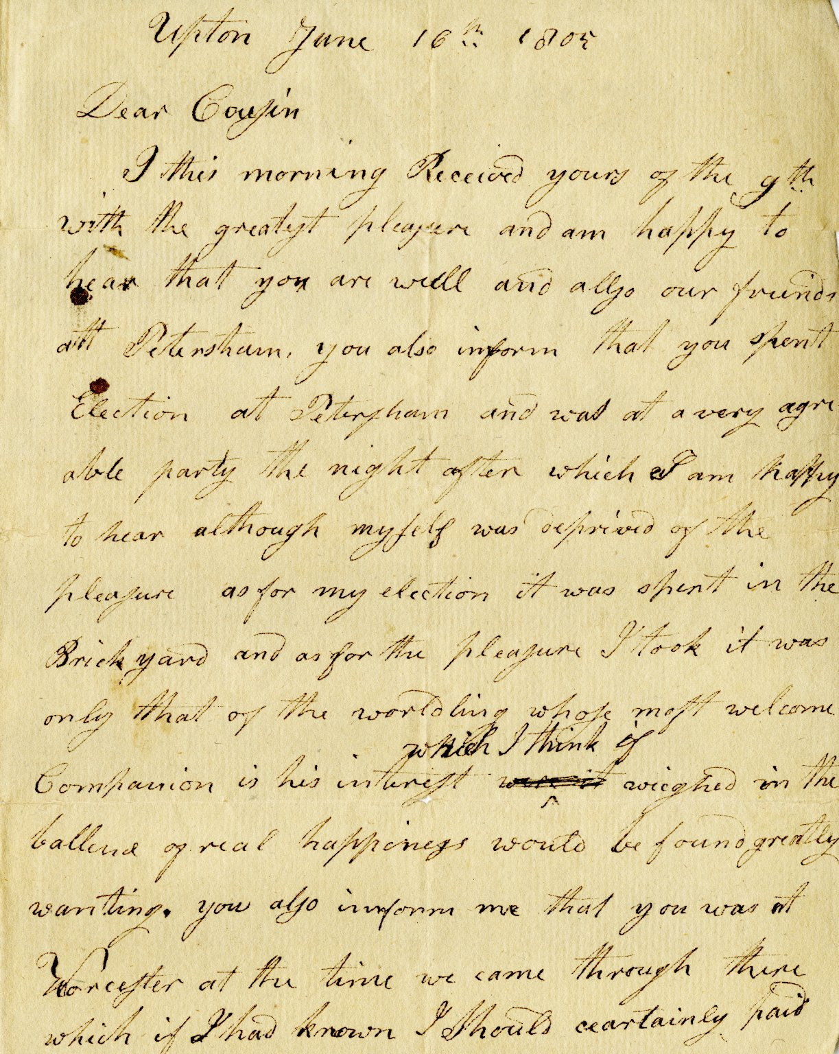 Holland, Harrison to Alden Spooner. ALS, 2 pages, June 16, 1805.