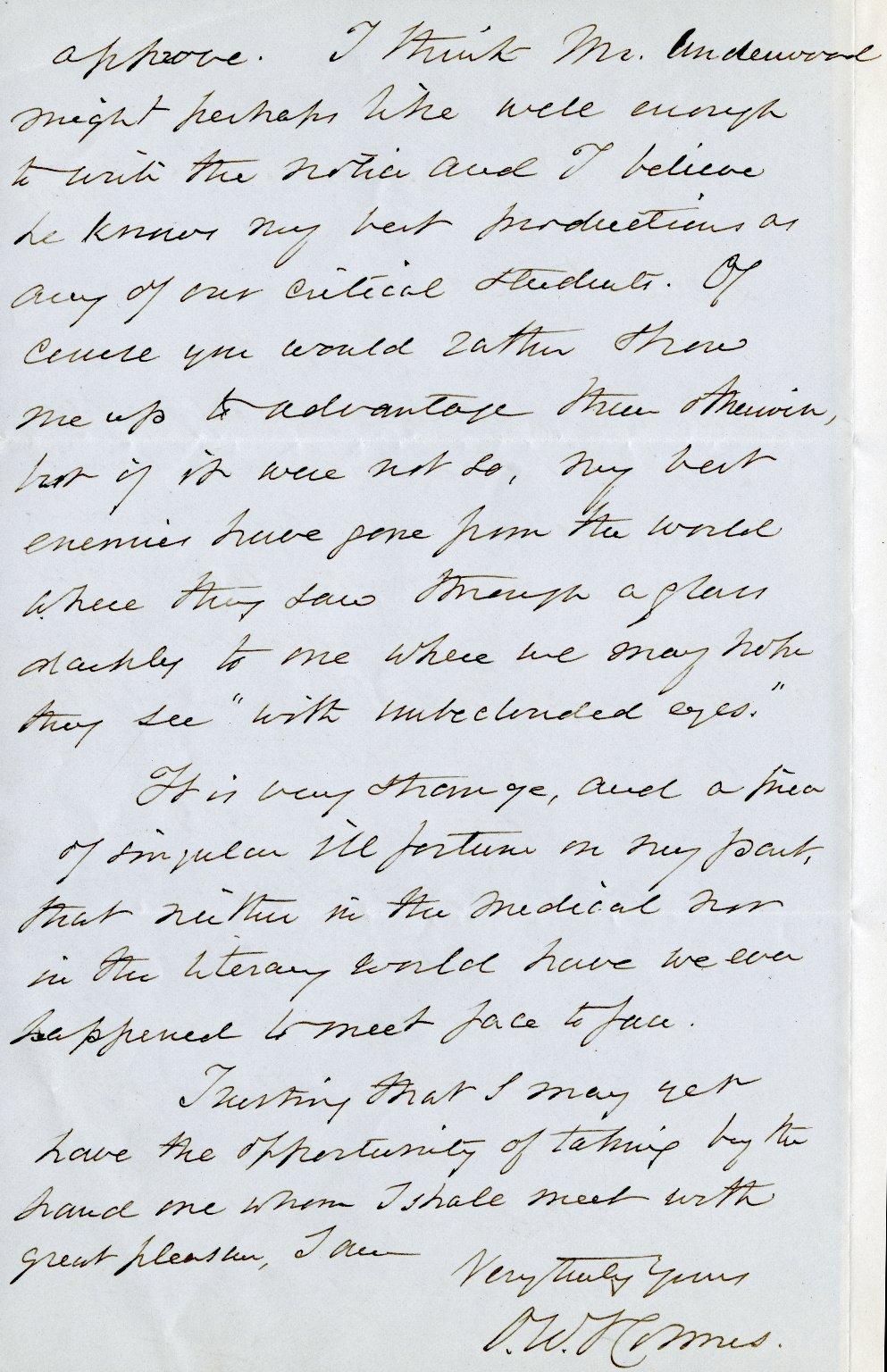 Holmes, Oliver Wendell. ALS, 2 pages, Sept. 29, 1878.