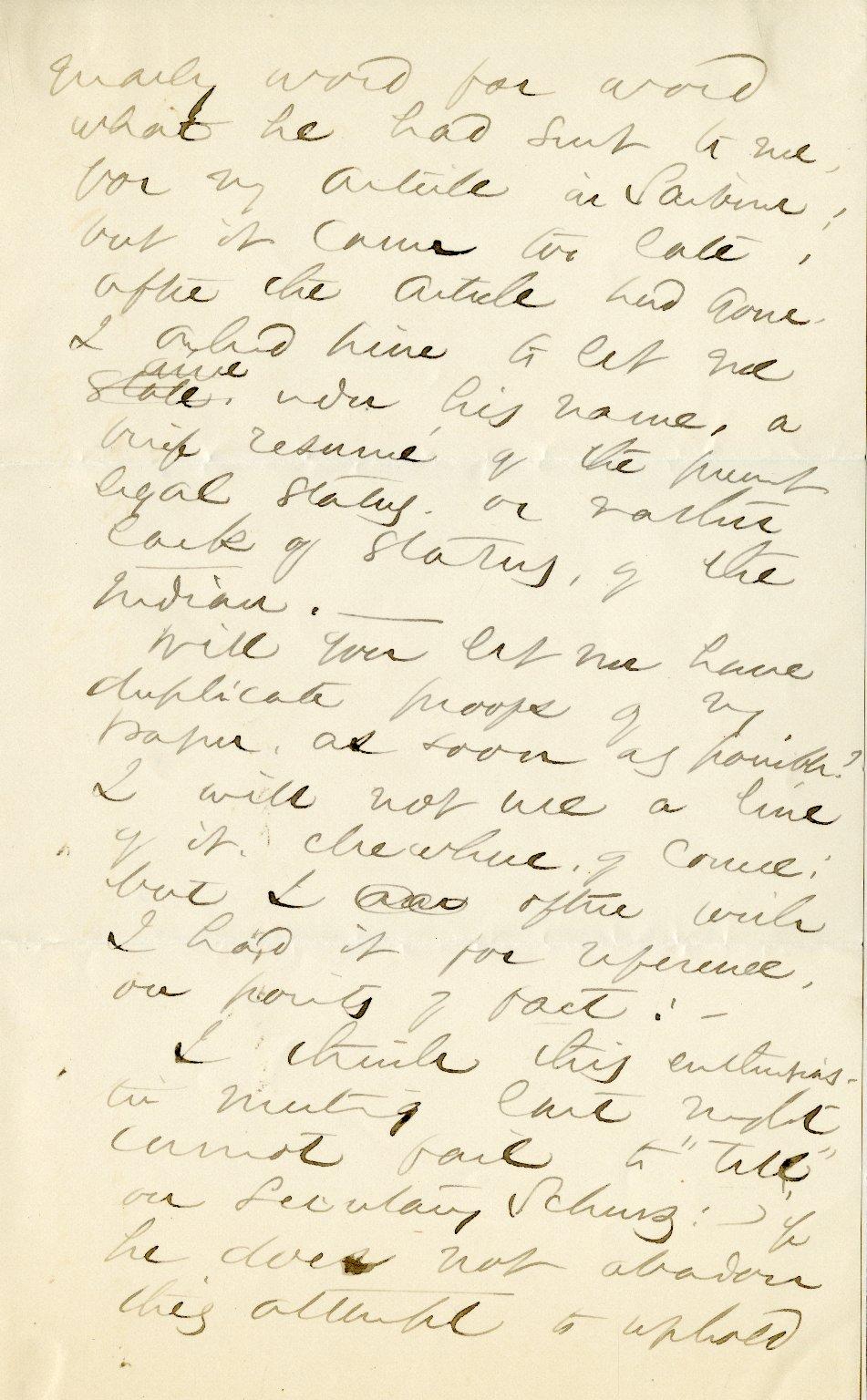 Jackson, Helen Hunt. ALS, 2 1/2 pages, [Spring 1880].