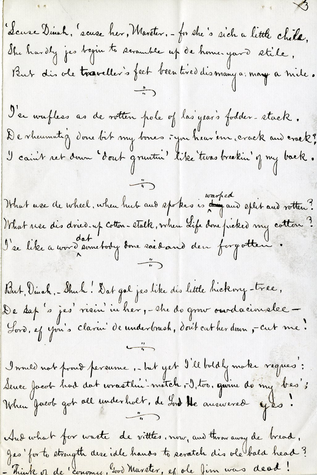 Lanier, Sidney. Holograph poem, 4 pages, signed, [1875].