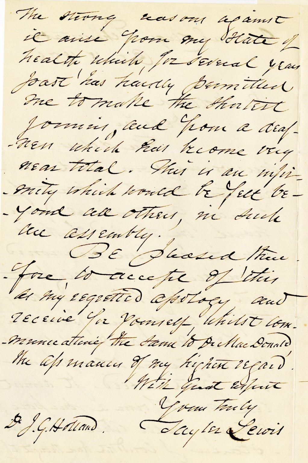 Lewis, Tayler. ALS, 2 pages, October 18, 1872.