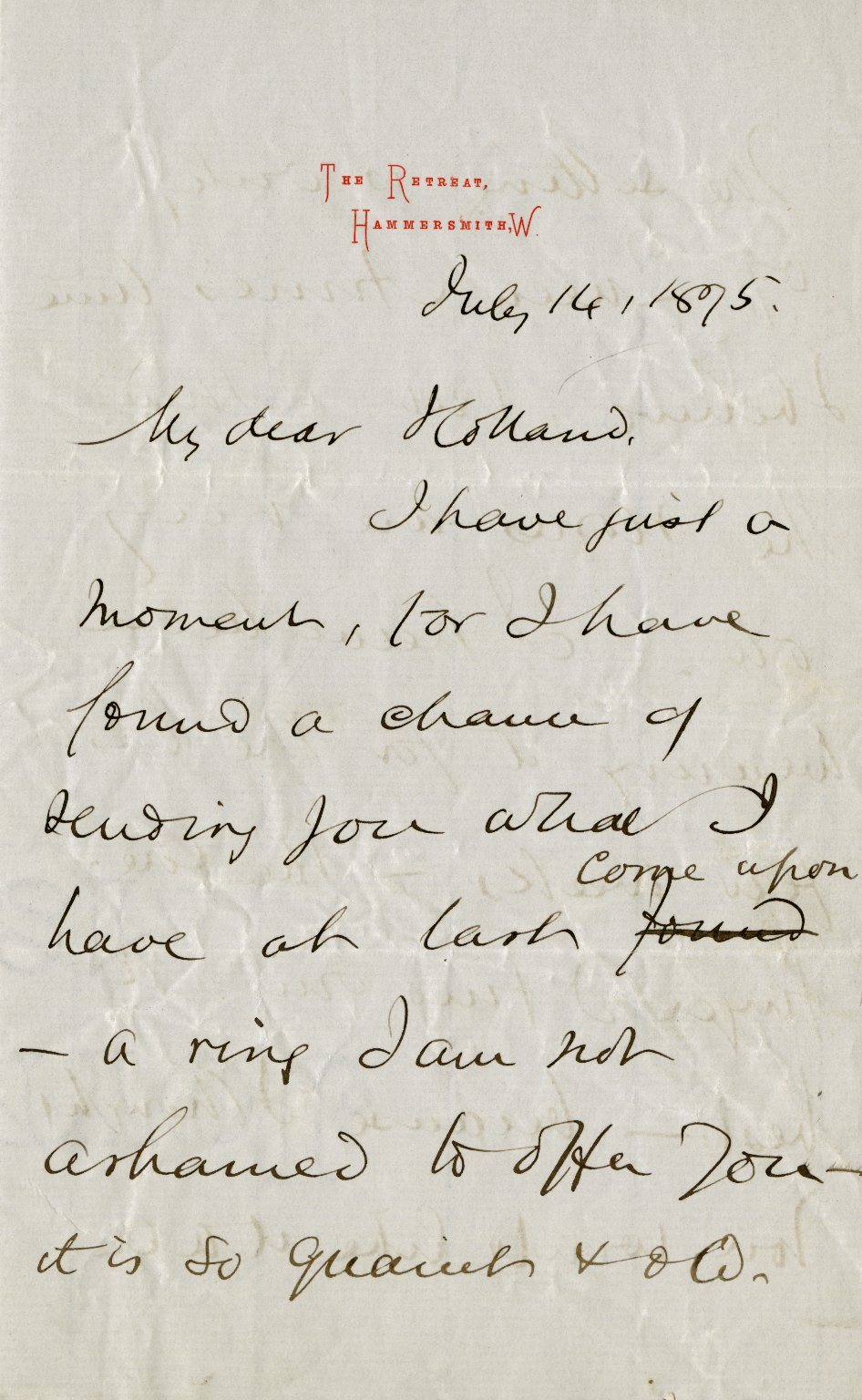 MacDonald, George. ALS, 4 pages, July 14, 1875.