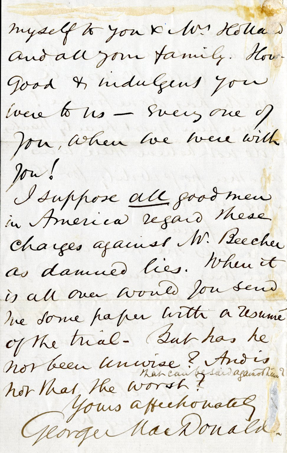 MacDonald, George. ALS, 4 pages, March 14, 1875