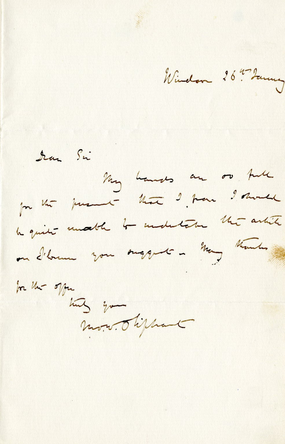 Oliphant, M.O.W. Mrs. ALS, 1 page, [January 26}.