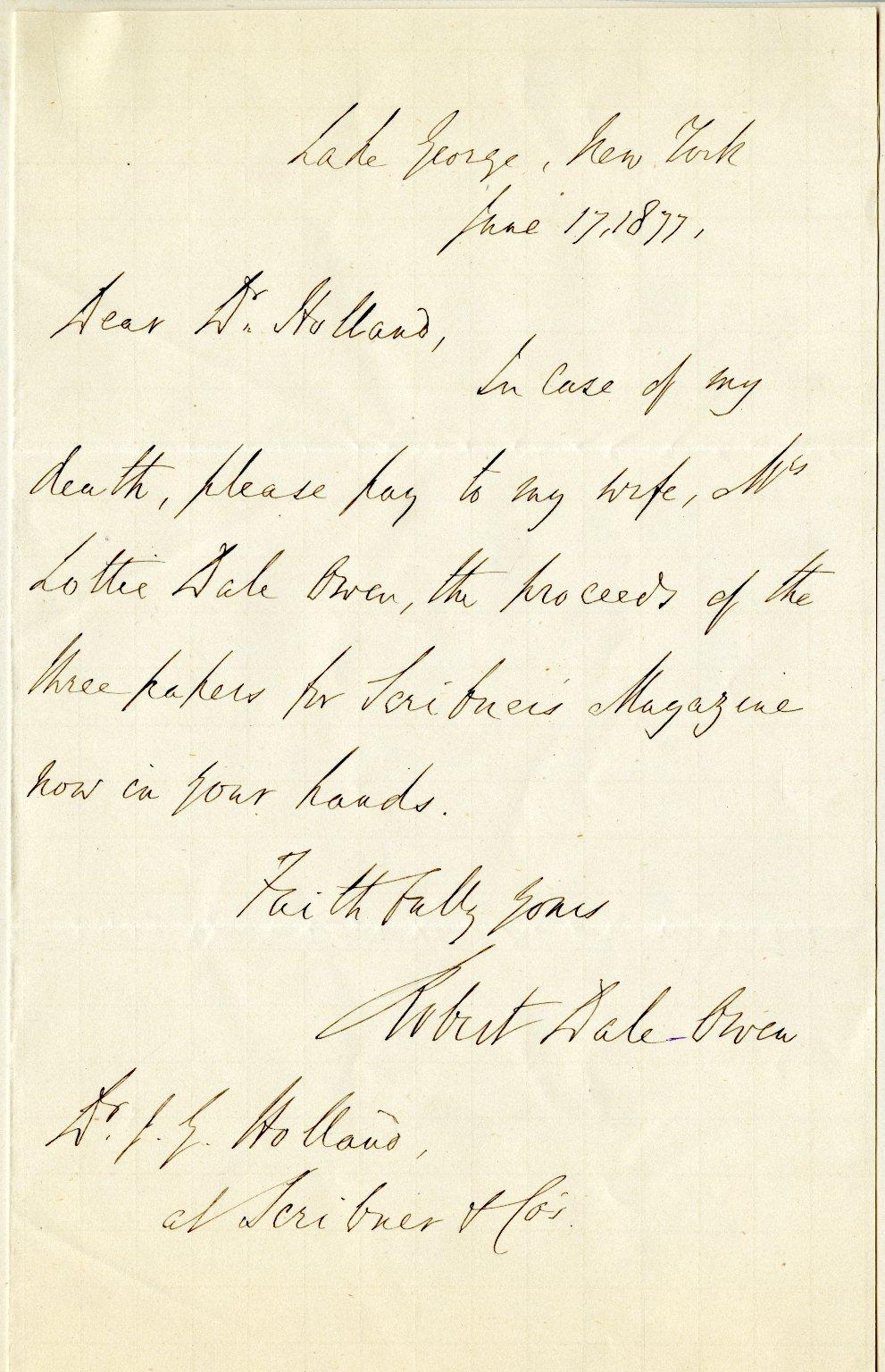 Owen, Robert Dale. ALS, 1 page, June 17, 1877.