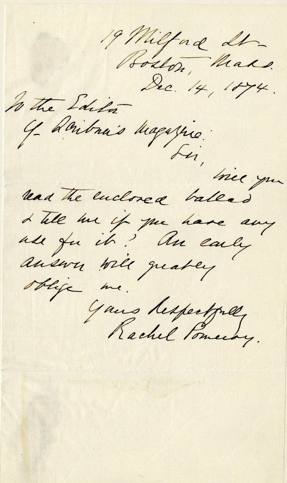Pomeroy, Rachel. ALS, 1 page, December 14, 1874.