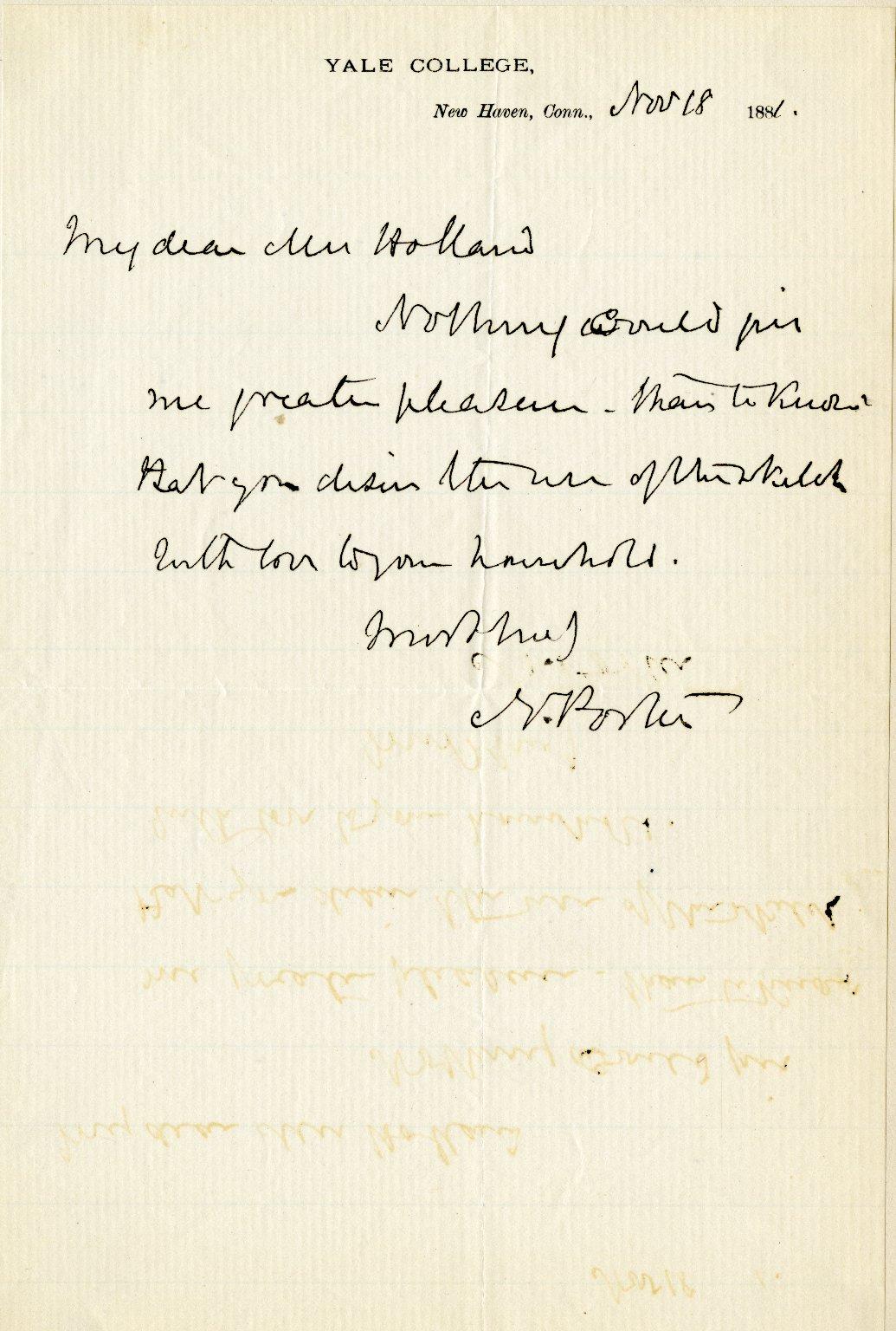 Porter, Noah. ALS, 1 page, November 18, 1880.