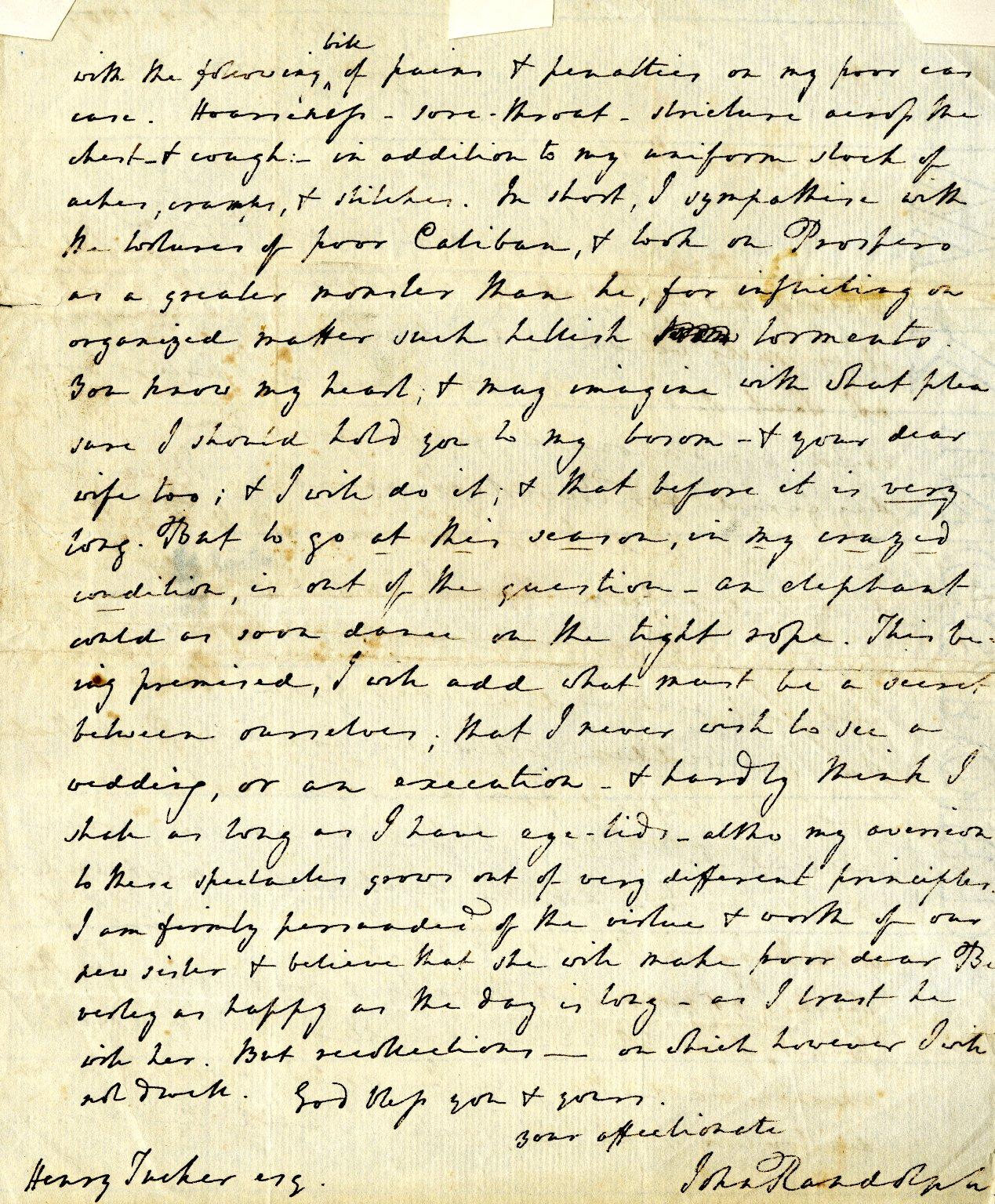 Randolph, John to Henry Tucker. ALS, 2 pages, February 3, 1809.