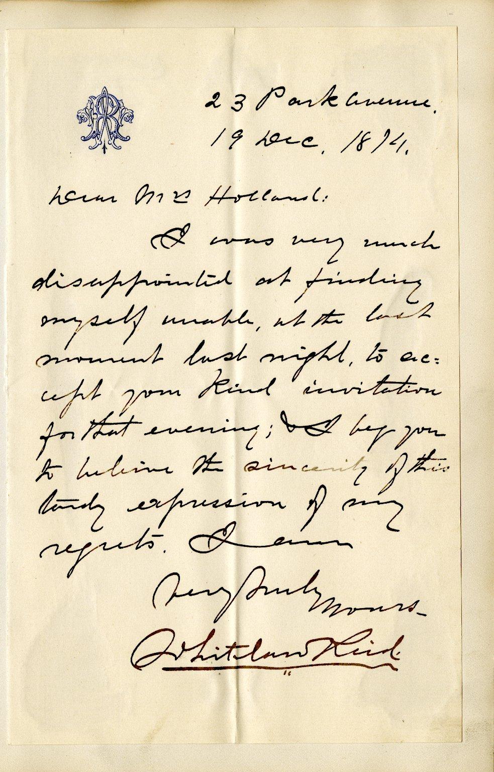 Reid, Whitelaw. ALS, 1 page, December 19, 1874.