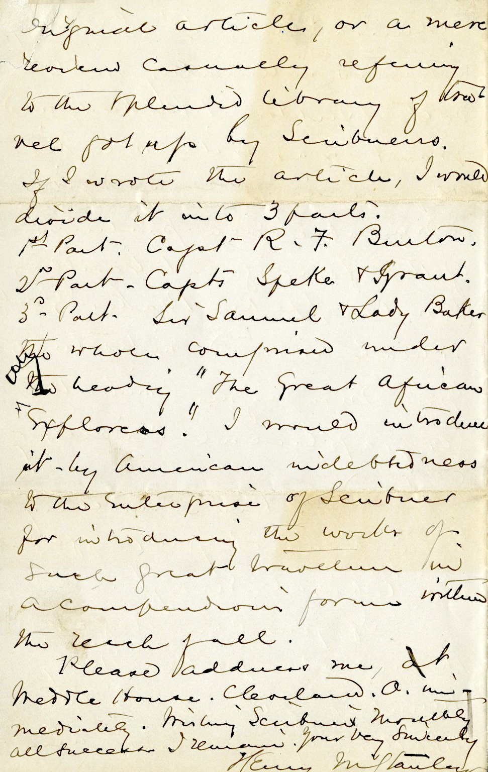 Stanley, Henry M. ALS, 4 pages, February 13, 1873