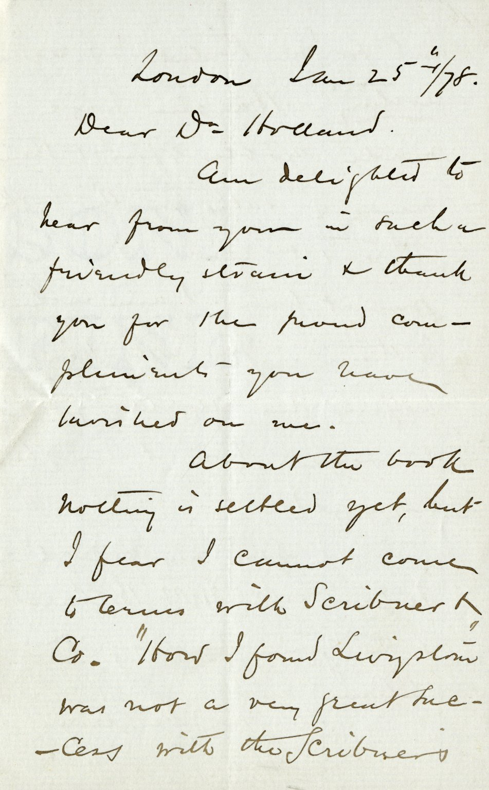 Stanley, Henry M. ALS, 2 pages, January 25, 1878.