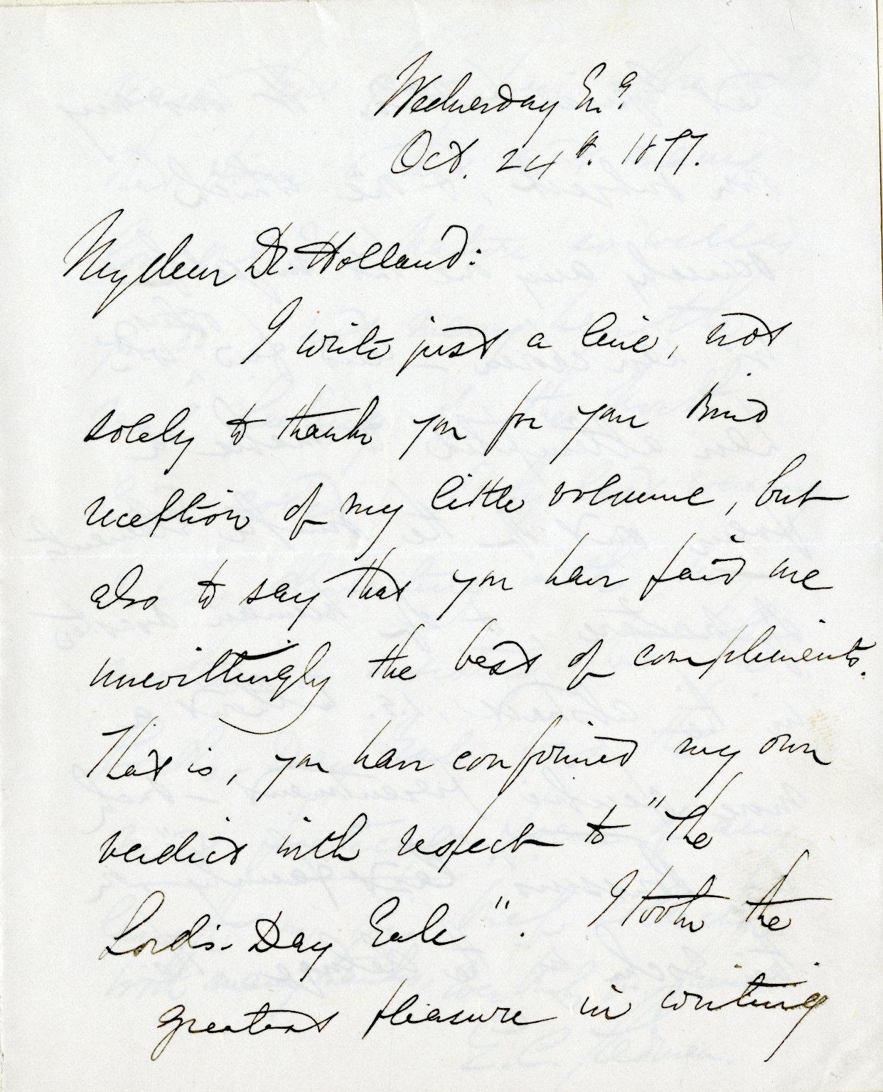 Stedman, Edmund C. ALS, 3 pages, October 24, 1877.