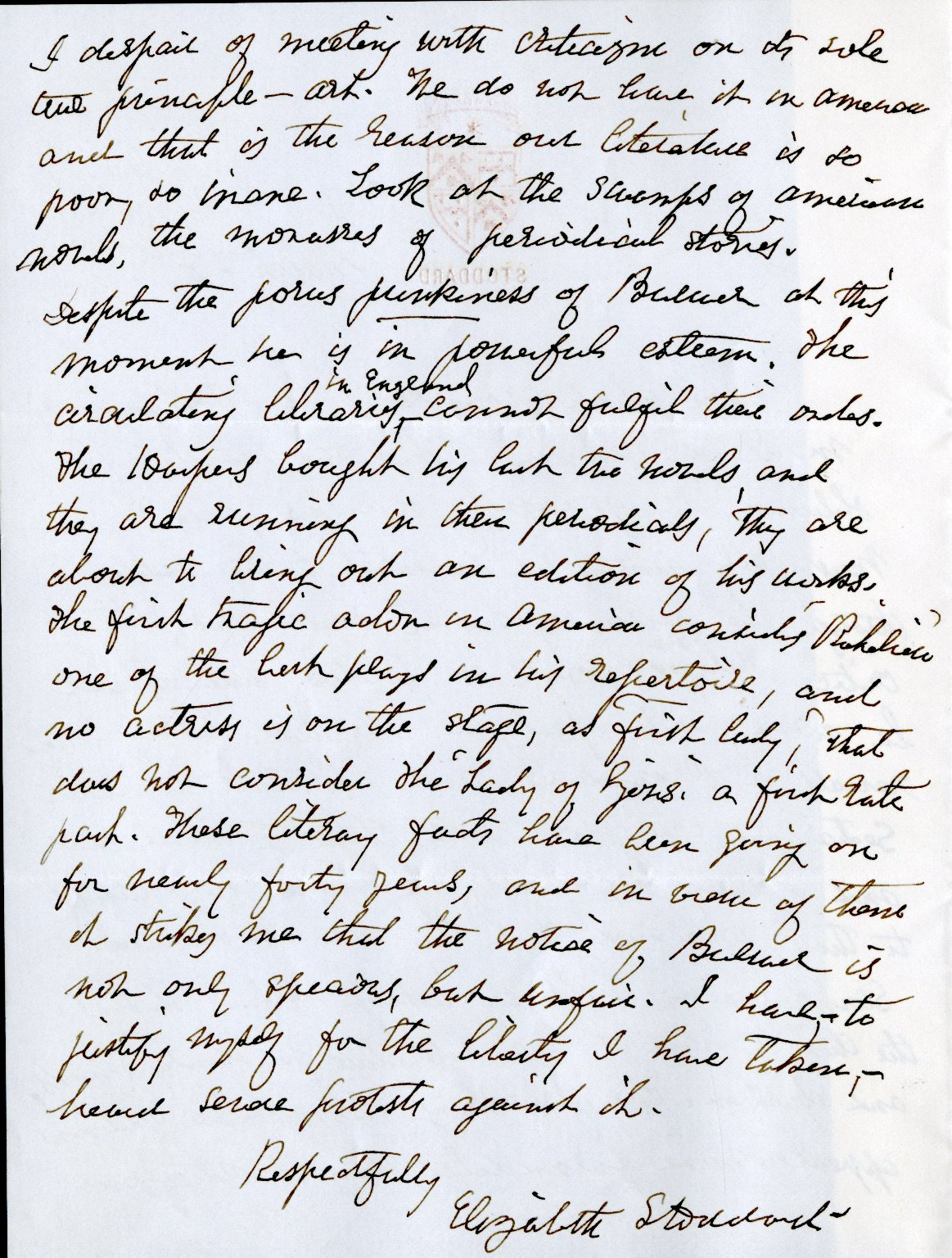 Stoddard, Elizabeth. ALS, 2 pages, [March 28].