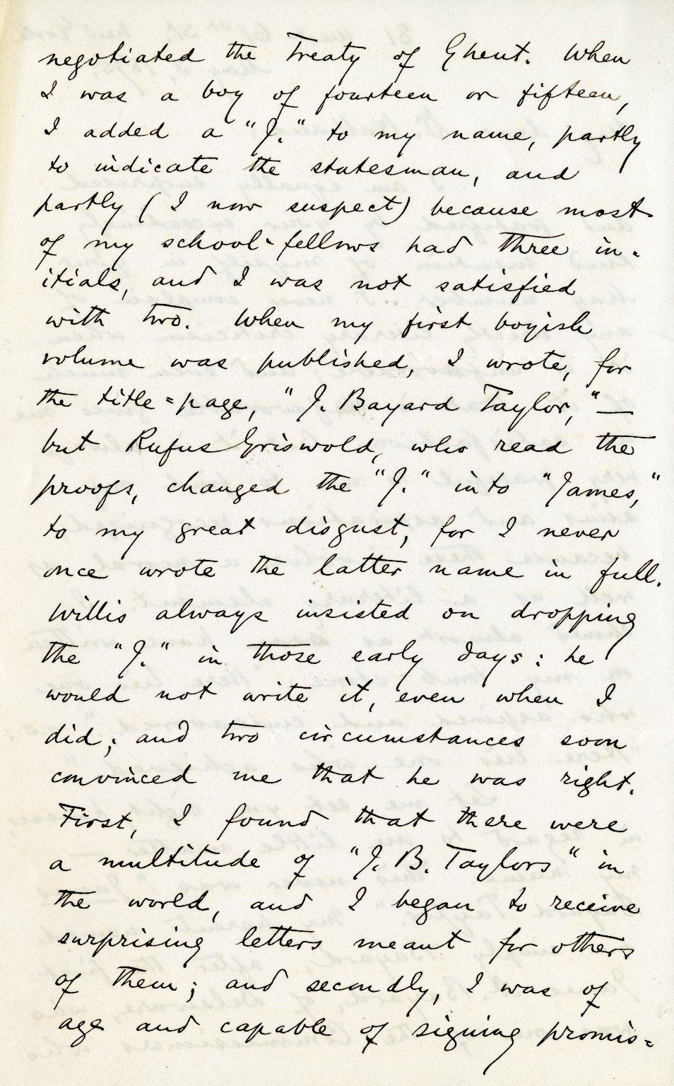 Taylor, Bayard. ALS, 4 pages, May 3, 1875.