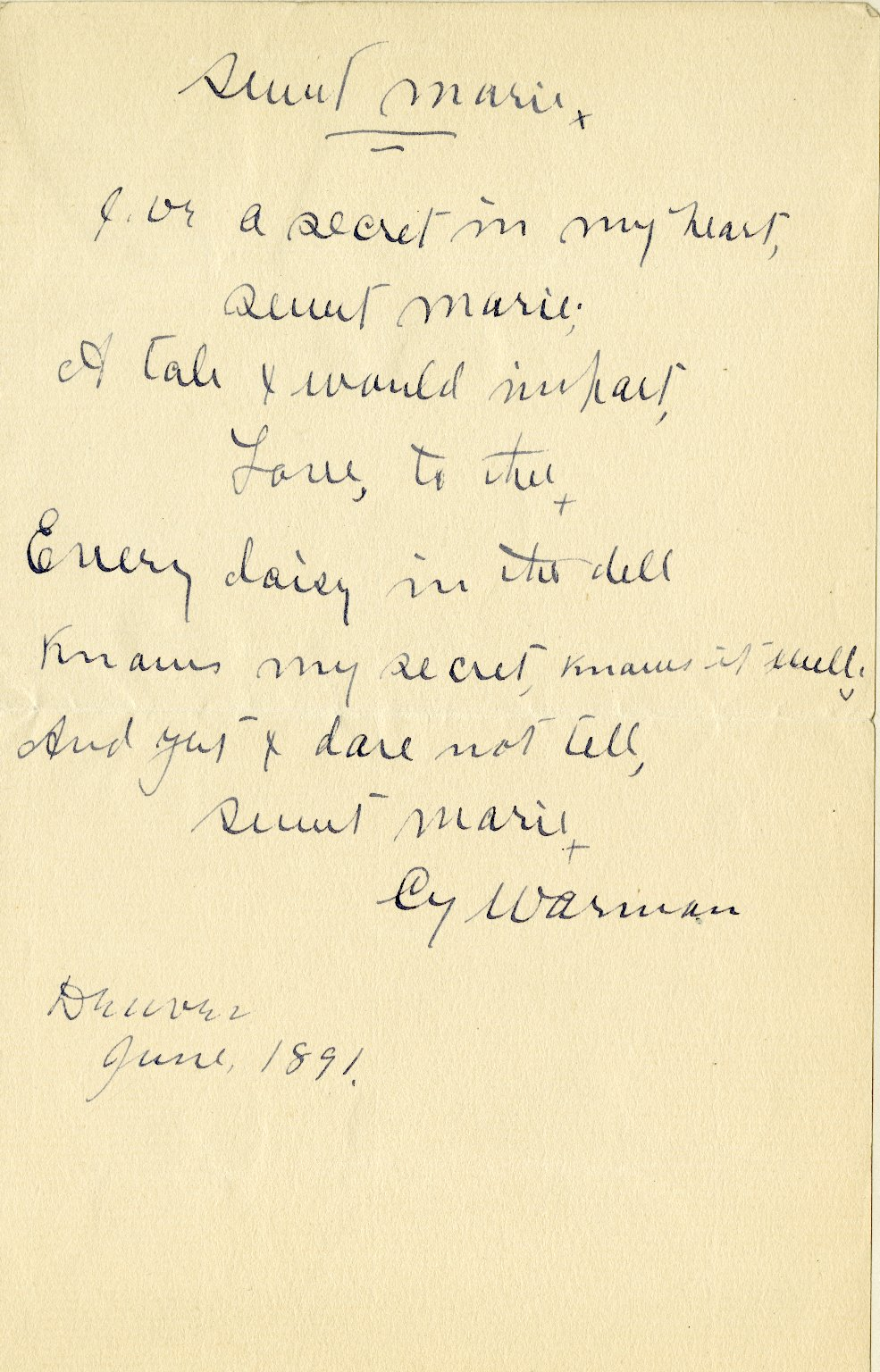 Warman, Cy. Holograph poem, 1 page, 1891.