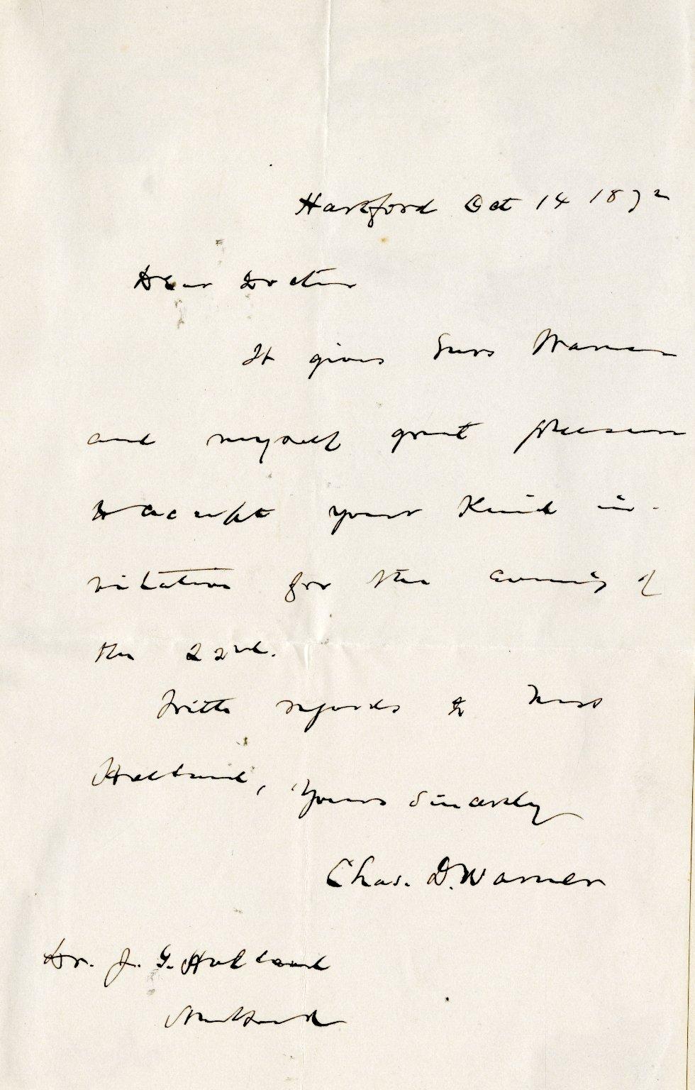 Warner, Charles Dudley. ALS, 1 page, October 14, 1872.