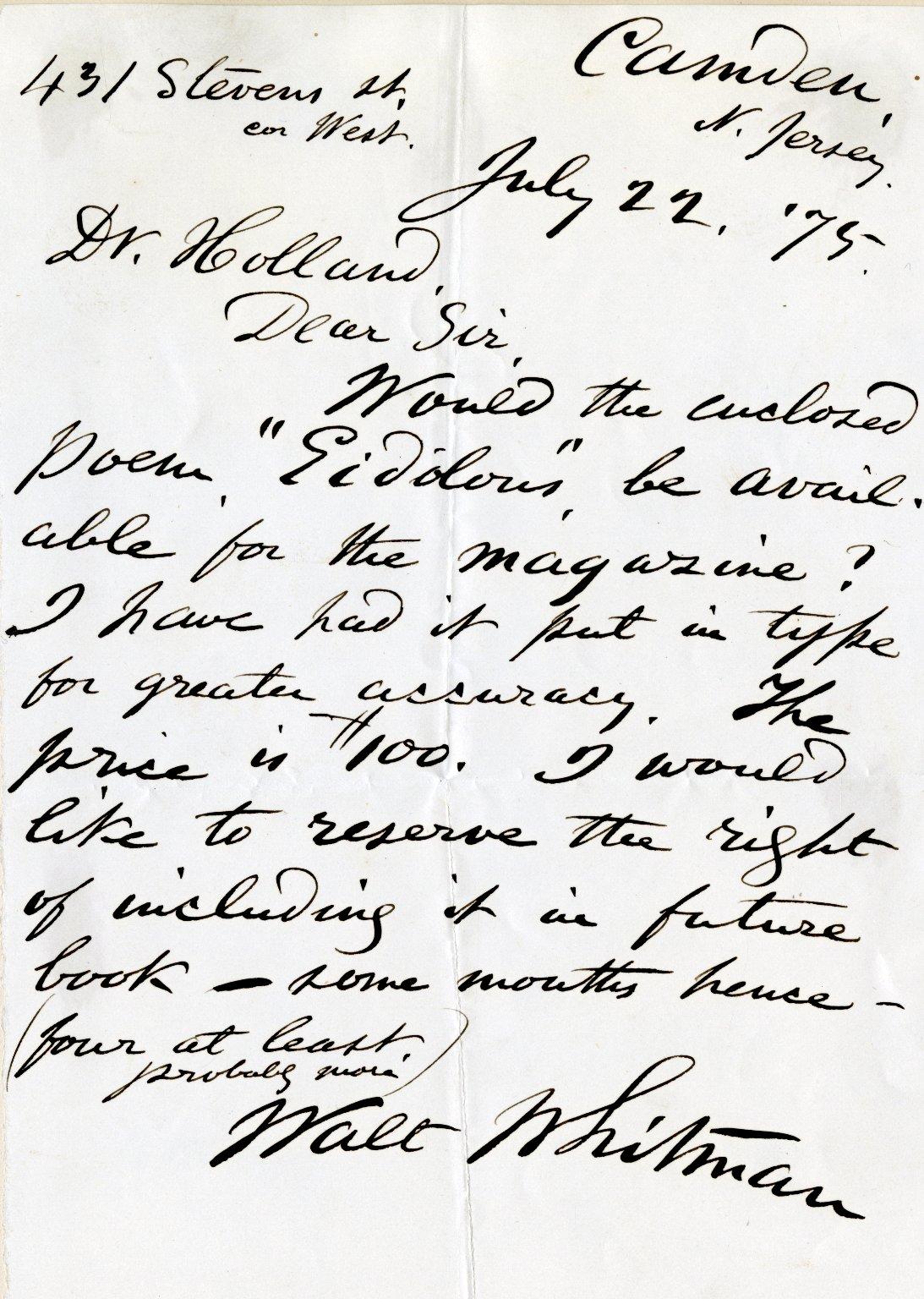Whitman, Walt. ALS, 1 page, July 22, 1875.