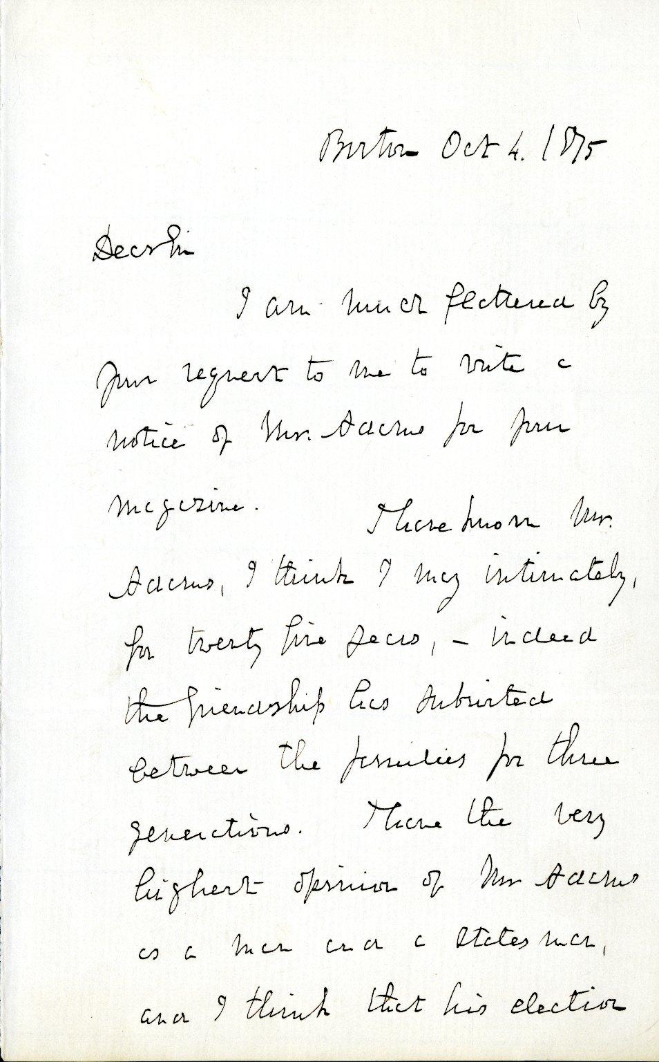 Dana, Richard H., Jr. ALS, 3 pages, October 4, 1875.