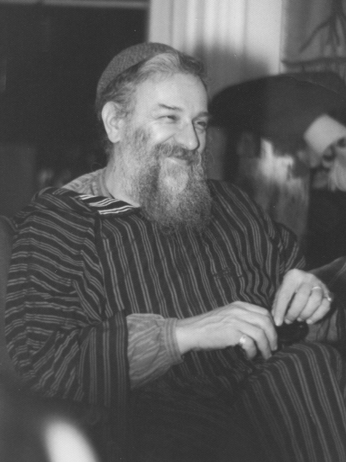 Rabbi Zalman Schachter in striped robe, ca. 1970s.