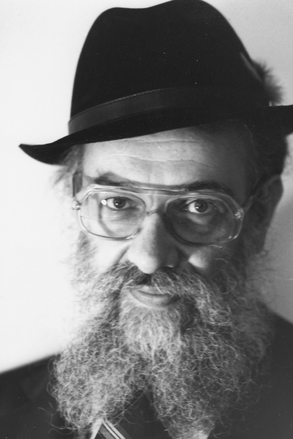 Rabbi Zalman Schachter in a fedora with a feather, ca. 1970s.