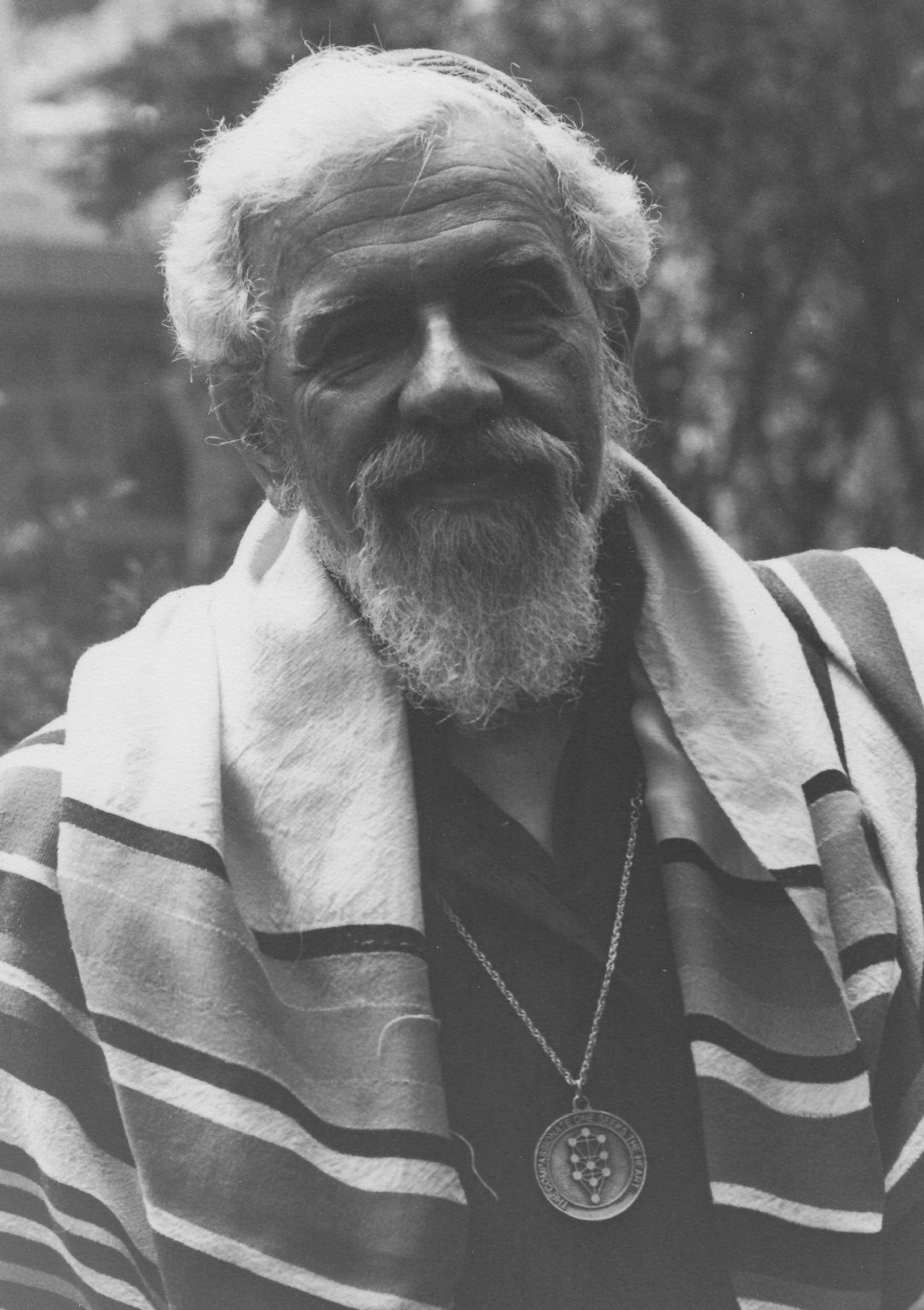 Rabbi Zalman Schachter-Shalomi with tallit and B'nai Or medalion, ca. 1980s.