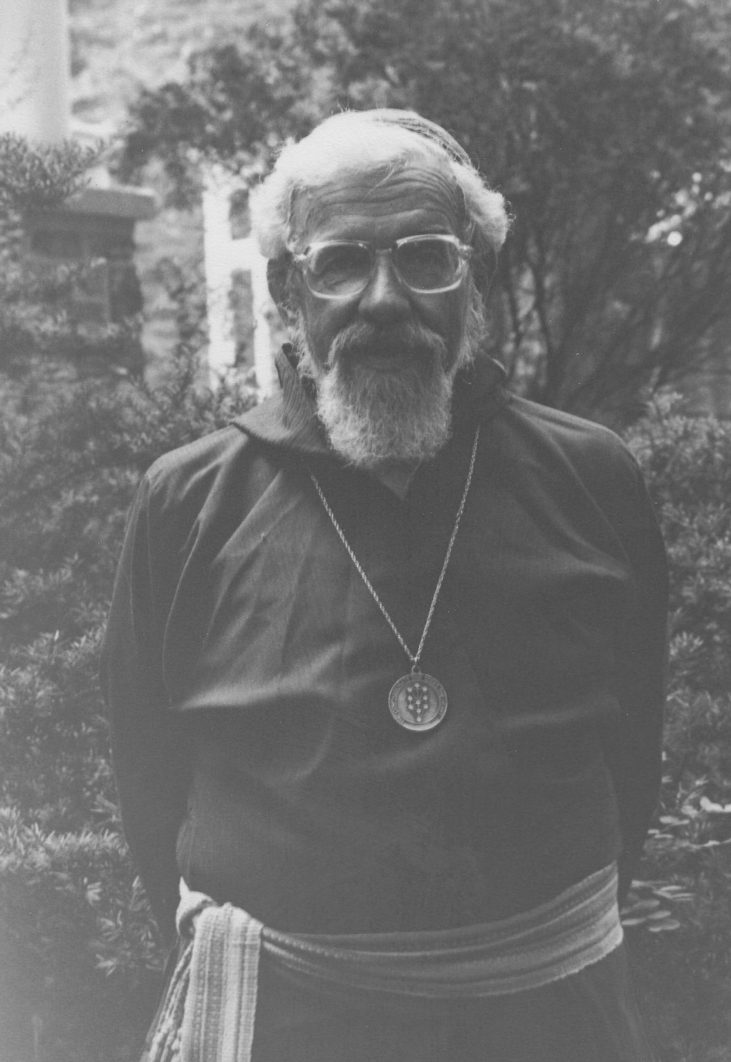 Rabbi Zalman Schachter-Shalomi in sheikh's robe with B'nai Or medallion, ca. 1980s.