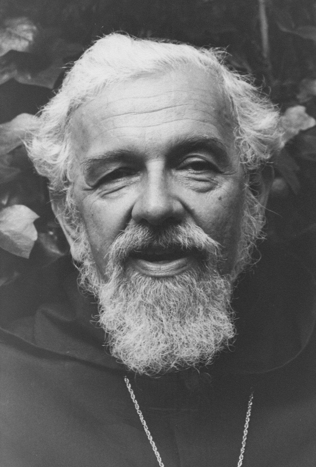 Rabbi Zalman Schachter-Shalomi in black robe, ca. 1980s.