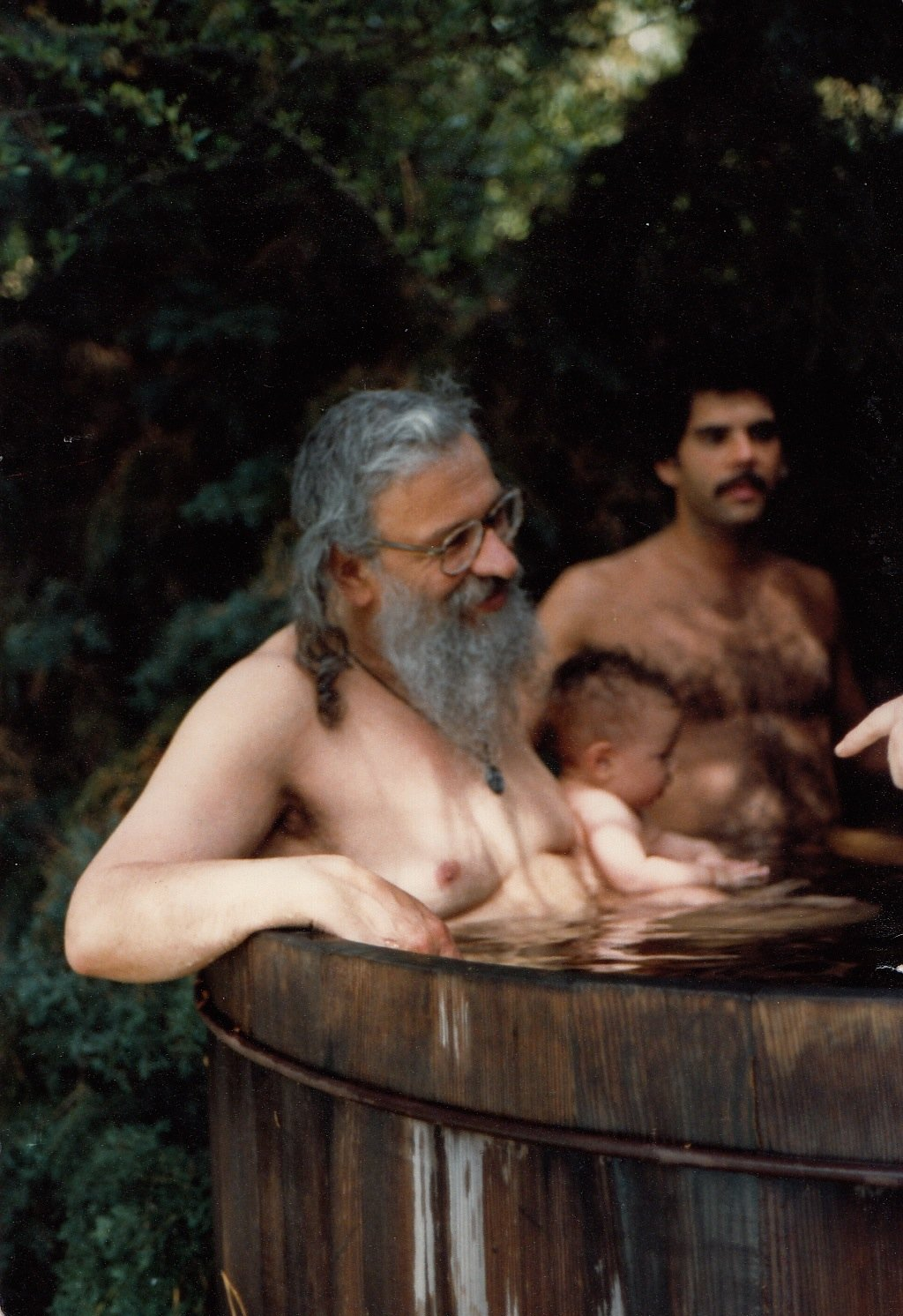 Rabbi Zalman Schachter-Shalomi in hot tub, ca. 1981.