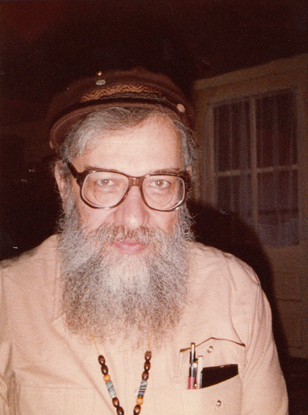 Rabbi Zalman Schachter-Shalomi in fisherman's cap, ca. 1980s.