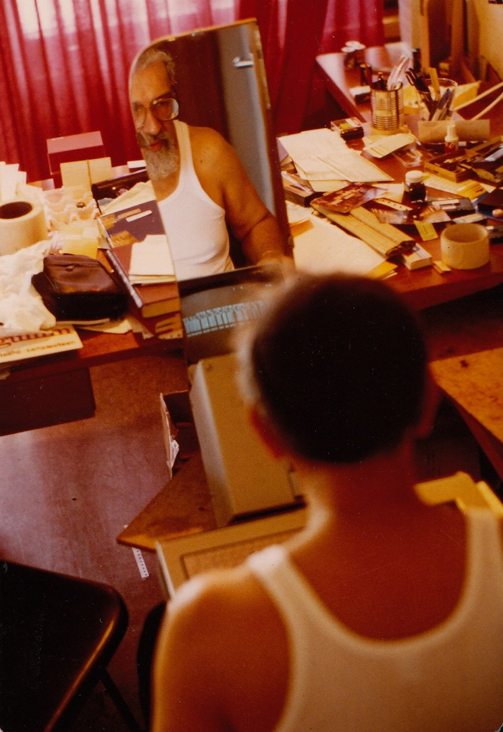 Rabbi Zalman Schachter-Shalomi reflected in a mirror, mid to late 1980s.