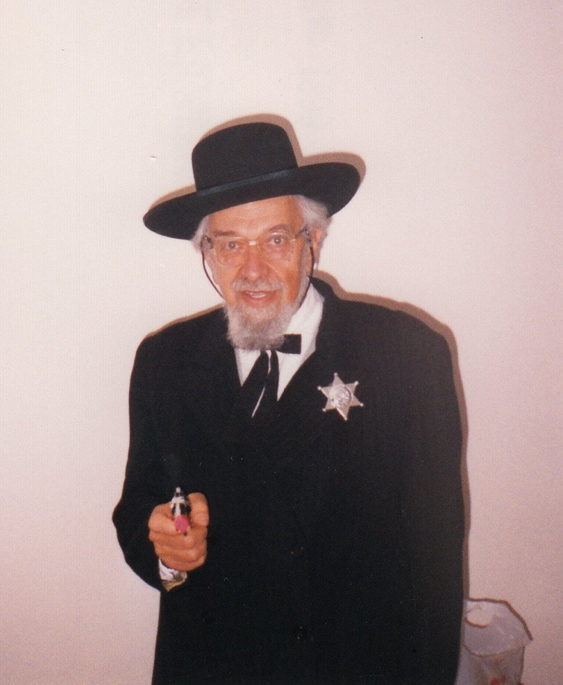 "Rabbi Zalman Schachter-Shalomi dressed as ""Hop-a-Long Hasidy"" for Purim, 1999."