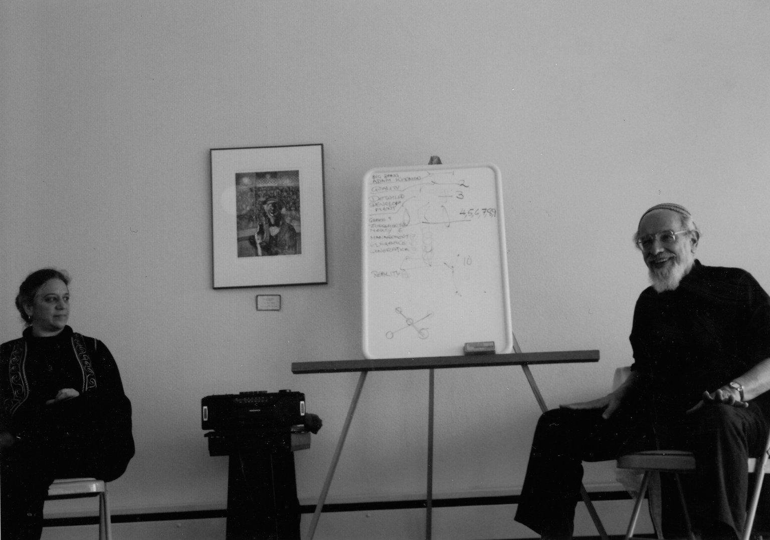 Rabbi Zalman Schachter-Shalomi teaching with his partner, Eve Ilsen, 1990s.