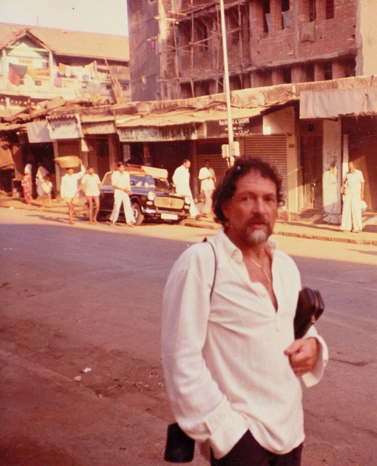 Paul Horn in the streets of Bombay, 1982.