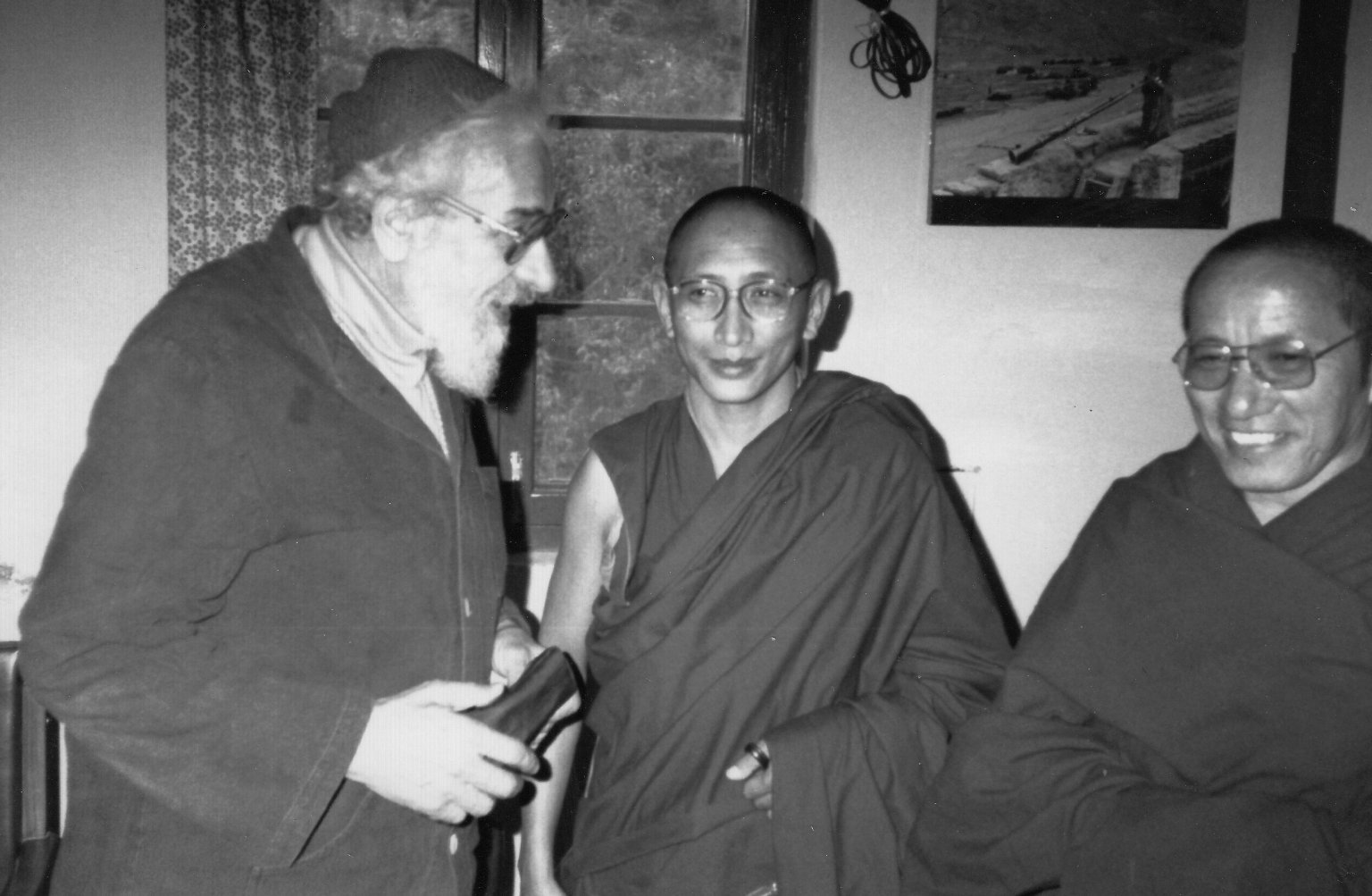 Rabbi Zalman Schachter-Shalomi with the secretary of the Dalai Lama and an unidentified monk, Fall 1990.