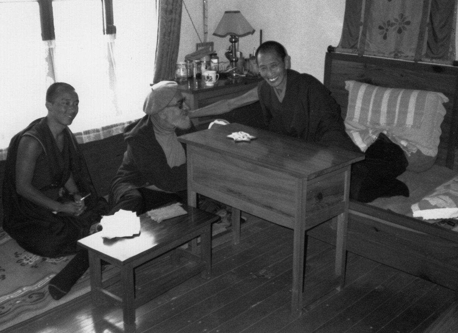 Rabbi Zalman Schachter-Shalomi with a Tibetan Buddhist geshe, possibly Geshe Kelsang Gyatso, Fall 1990.