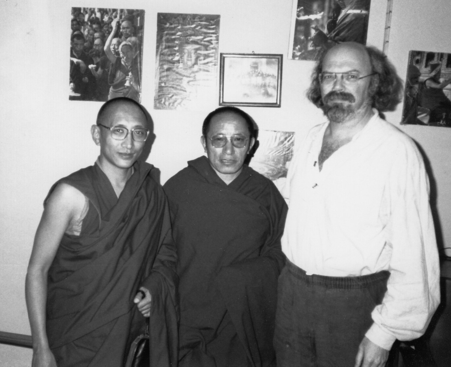 The secretary of the Dalai Lama,an unidentified monk, and Dr. Paul Mendes-Flohr, Fall 1990.