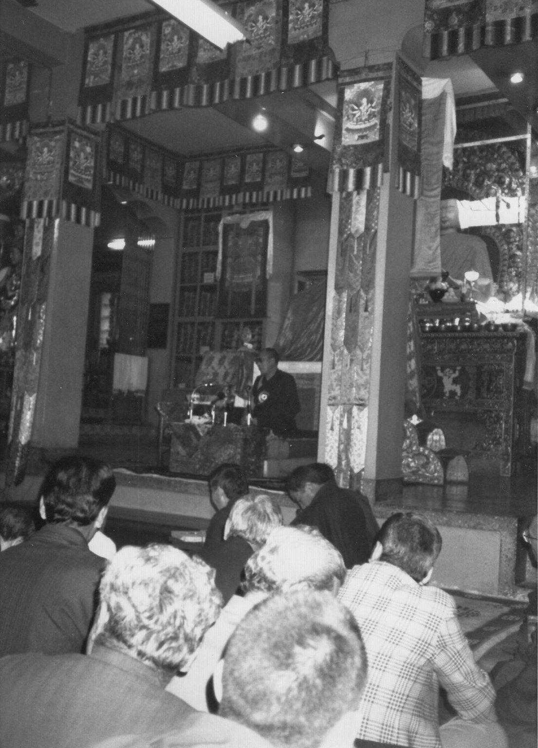 His Holiness Tenzin Gyatso, the 14th Dalai Lama, speaking to an audience, Fall 1990.